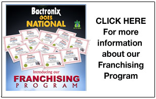 Company franchising program flyer of mold treatment company Bactronix in Moon, PA